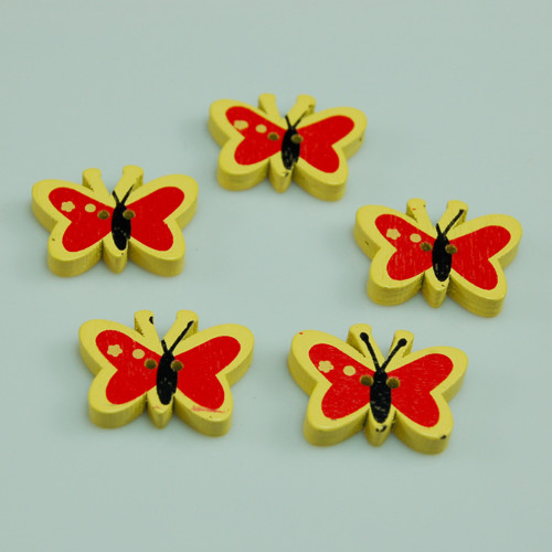 dřevěný knoflík motýl žlutý - 5 ks