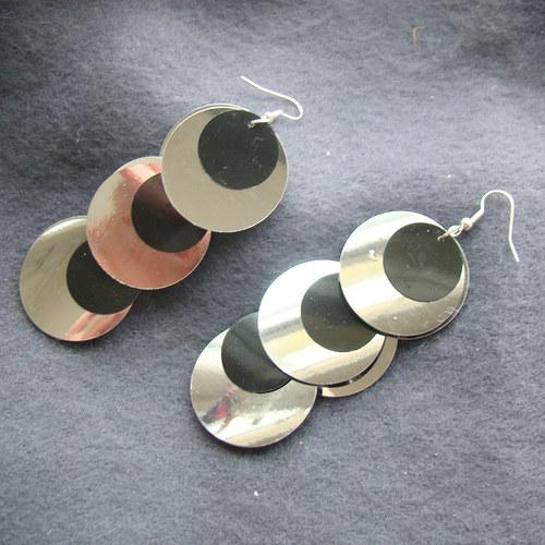 náušnice - flitrové 3 kolečka velké