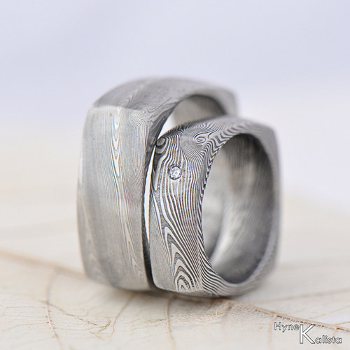 Prsten damasteel - Round squer a diamant 2mm