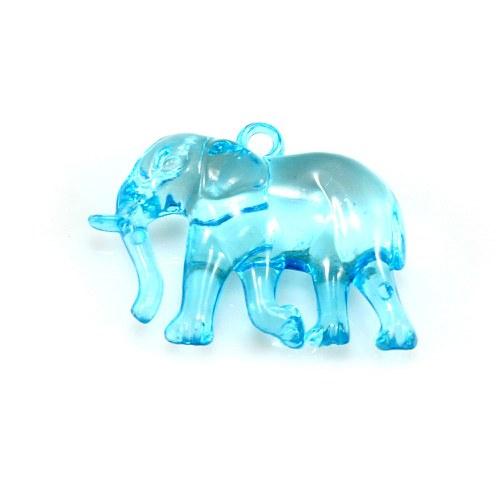 Tyrkysový slon - plastový přívěsek, 32x26 mm