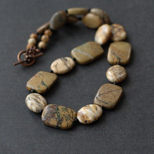 Náhrdelník s obrázkovým jaspisem a achátem