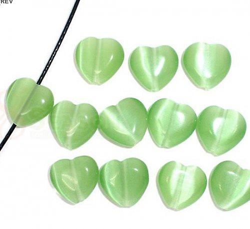 srdce-kočičí oko / zelená /12mm/ 2ks