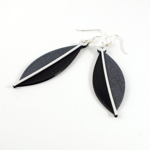 Náušnice eucalyptus vertigo grey/black/white