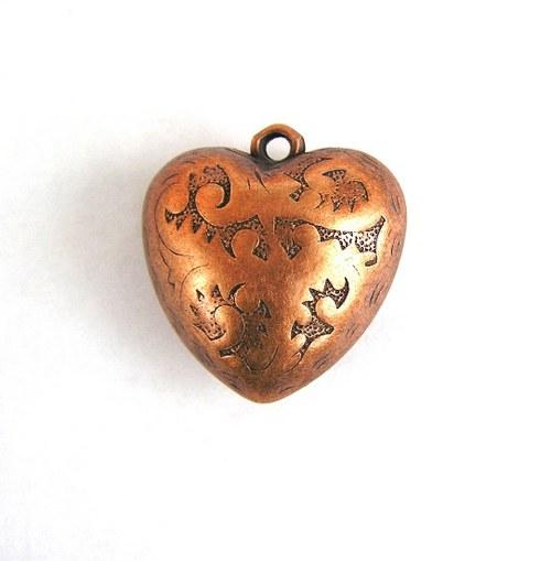 Měděné srdce, přívěsek, 30 mm - 1 kus
