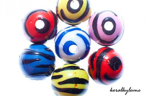 Korálky zebra modré 5ks