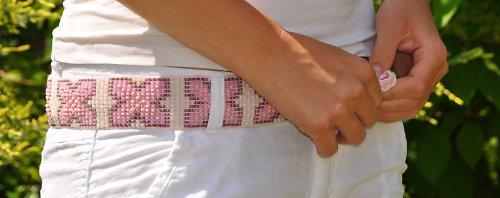 korálkový pásek pink