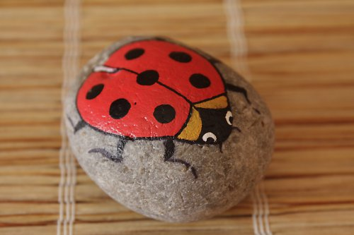 malovaný kámen - beruška