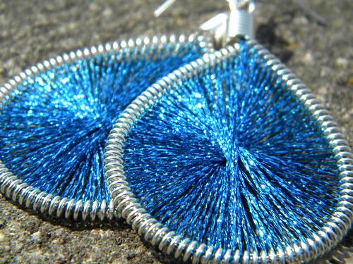 Naušnice - světlé modré třpytky