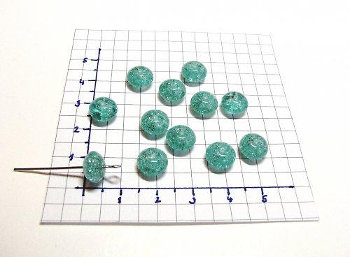 Praskané, zelené korálky, 9 mm, 15 ks, placička