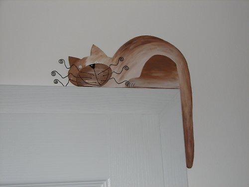 Dřevěná KOČKA na dveře nebo polici