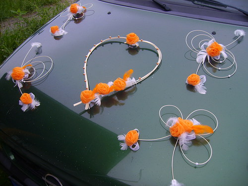 Dekorace na auto-oranžová sada