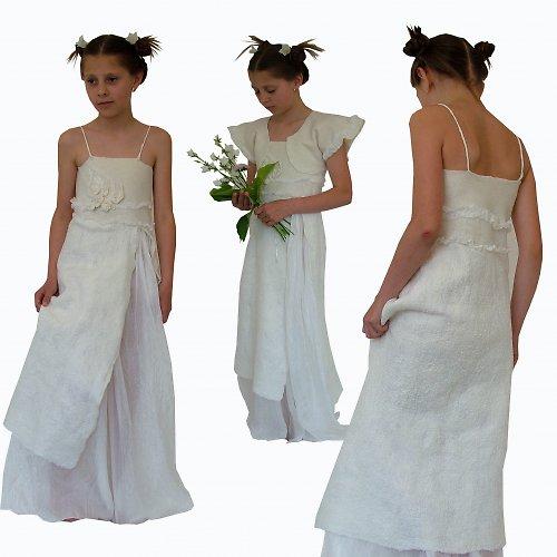 Plstěné šaty andělské s bolerkem