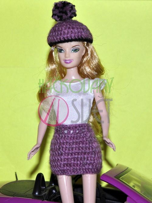 Zimní sukně s čepicí pro Barbie - fialová