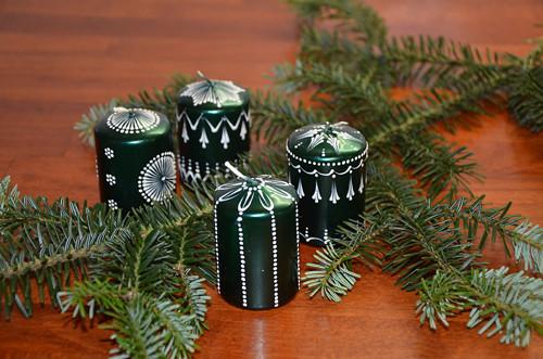 Svíčky zelené perleťové - sada 4 ks