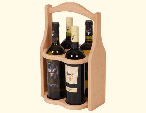Dřevěná kazeta na 4 lahve vína