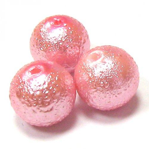 Zvrásněné perly - růžová - 10 mm - 3 ks