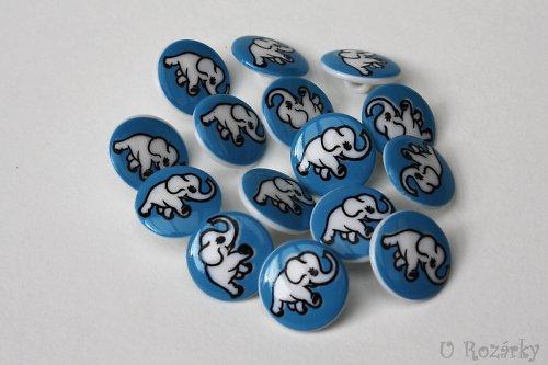 Dětský knoflík - slon modrý
