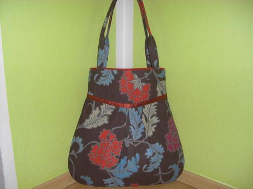 Kabelka,taška-velke kvety so škoricovou