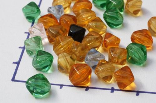 Transparentní korále, směs barev, 10 gr