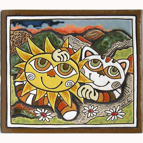 Keramický obrázek - Kočka a slunce K-108-N