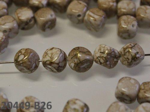 20449-B26 Korálky kostky mramor KRÉM 8/8 bal.15ks