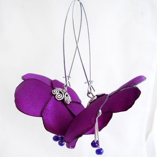 Náušnice: Zářivě fialové květy