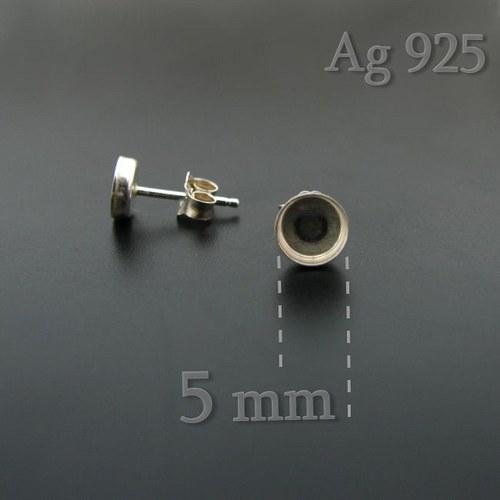 Puzety s lůžkem (5mm) stříbro Ag925 - 2ks (1 pár)