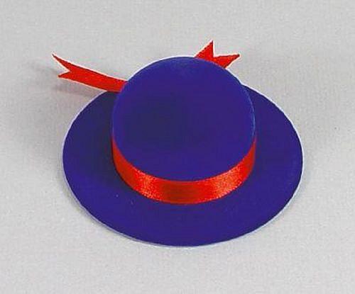 Sametová krabička na šperky - modrý klobouček