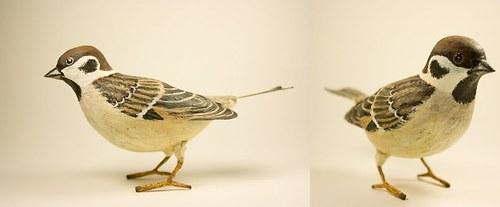 ručně malovaný Vrabec Polní