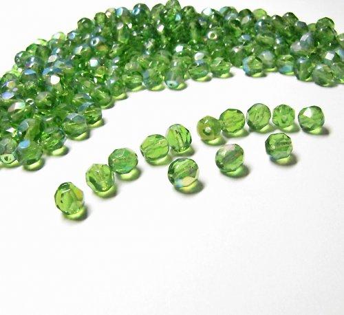 Broušené zelené korálky s AB efektem, 6mm 20 ks