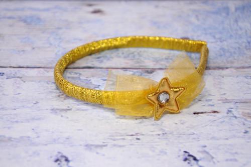 pevná čelenka - mašlička s hvězdičkou - zlatá