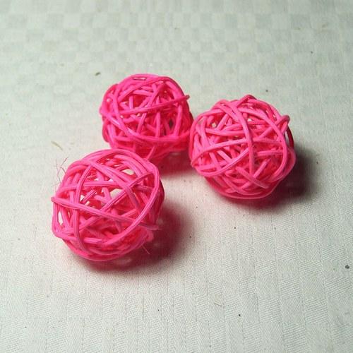 Kouličky prům. 3 cm, 3 ks, svítivě růžové