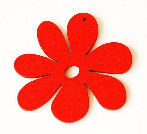 dřevěné kytičky- červené