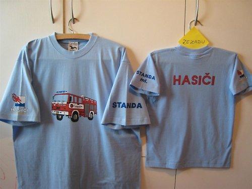 Pánské ručně malované tričko s hasiči