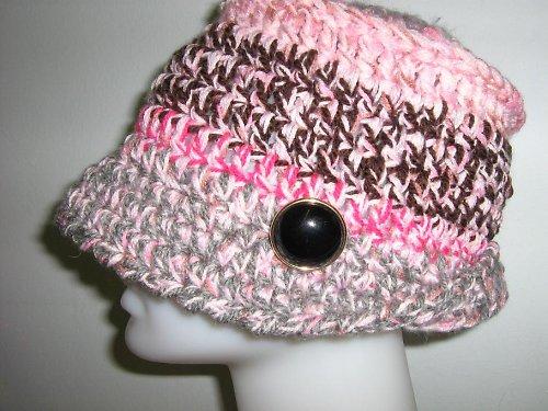 Háčkovaný, melírovaný klobouk