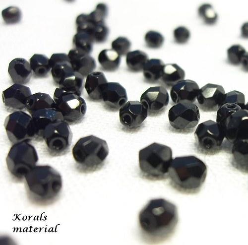 2258 Korálky BROUŠENÉ 4 mm, černé, 60 ks