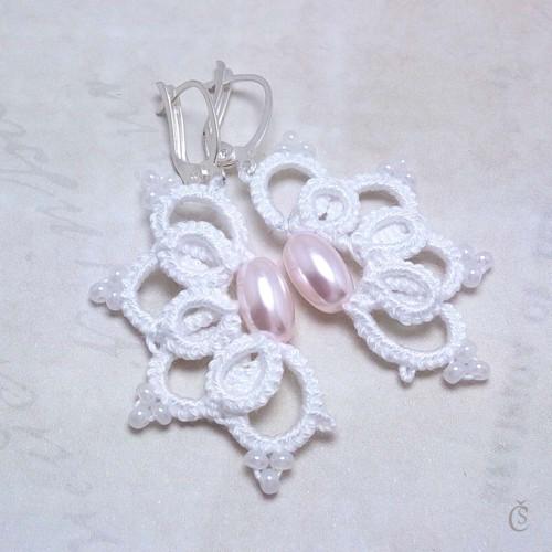 Náušničky s růžovými perlami