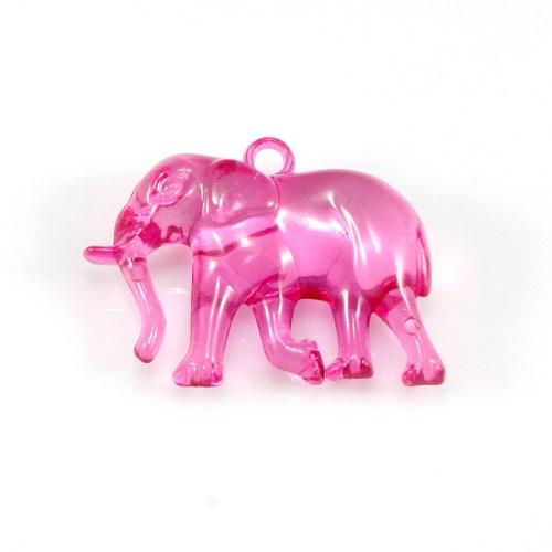 Tmavě růžový slon - plastový přívěsek, 32x26 mm