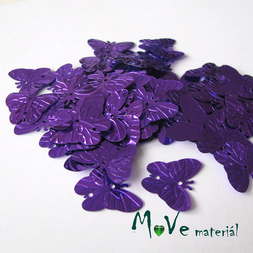 Flitry motýlek fialový 18x22mm, 5g