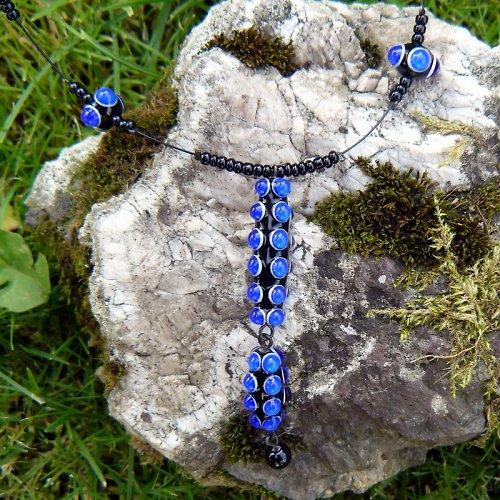 Náhrdelník okaté olivy - modré (kobalt)