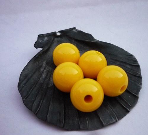 žluté akrylové korálky 6 ks - 10 mm