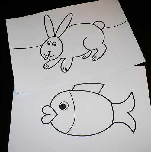 Kouzelné obrázky:  králík na louce a ryba ve vodě.
