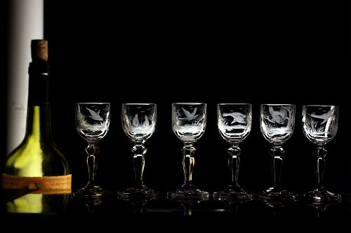 6x sklenice na pálenku 35 ml-lovecký motiv