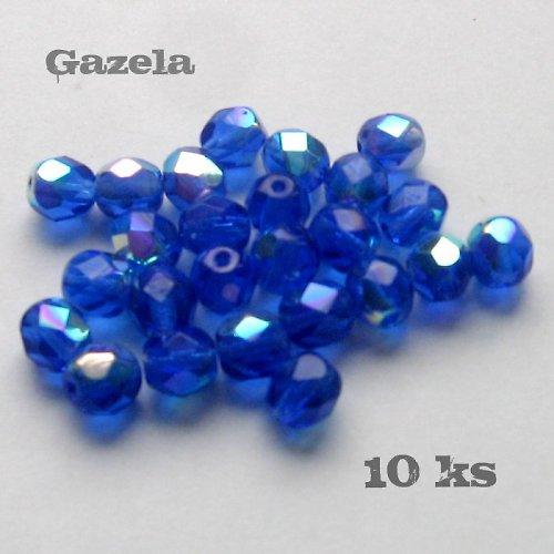 Korálky modré ploškované - 10 ks