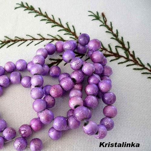 Korálky fialové s metalízou - 20 ks