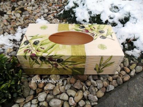 """Krabička na kapesníky \""""Zelené olivy\"""""""