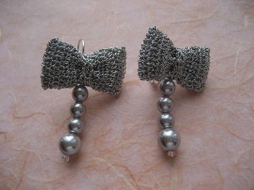 Mašličkové - háčkované náušnice s perlami-stříbrné