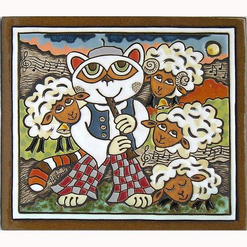 Keramický obrázek - Pasáček a ovečky K-142-N