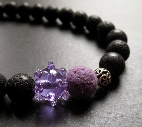 Náhrdelník láva fialová