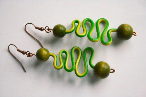 Náušnice - zelenožlutý had